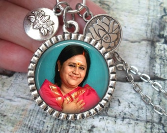 Sri Karunamayi, Hindu Saint, Amma, Divine Mother Necklace In Antique Silver with Lotus Flower Charms