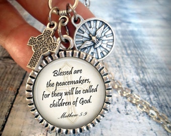 Blessed Are The Peacemakers, Matthew 5:9, Scripture Necklace, Holy Spirit, Finely Detailed Italian Charms, Christian Jewelry, Baptism Gift