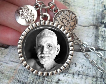 Ramana Maharshi Necklace In Antique Silver with Lotus Flower Charms, Sage, Master, Saint