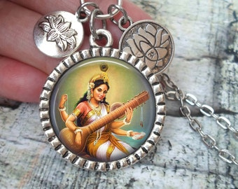 Saraswati Necklace In Antique Silver with Lotus Flower Charms, Hindu Goddess of Music, Arts, Education, Deity