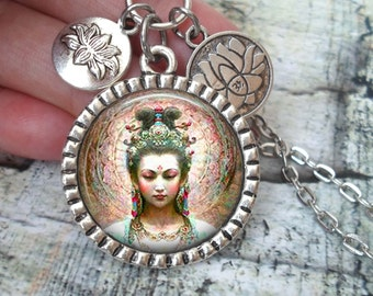 Quan Yin Necklace In Antique Silver with Lotus Flower Charms, Buddhist Goddess of Compassion, Deity