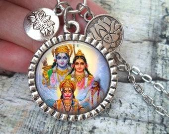 Hanuman, Shirdi Sai Baba, Krishna Necklace In Antique Silver with Lotus Flower Charms, God of Devotion, Hindu God, Deity
