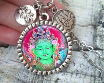 Green Tara Necklace In Antique Silver with Lotus Flower Charms, Buddhist Goddess, Deity