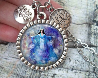 Yemaya, Goddess of the Ocean, Necklace In Antique Silver with Lotus Flower Charms,Goddess, Deity