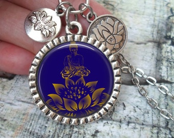 Buddha and Lotus in Blue and Gold, Image Necklace In Antique Silver Finish with Lotus Flower Charms