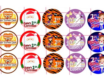 """1 inch Bottle Cap Images ~ Baby's First Holidays ~  Downloadable 4"""" x 6"""" Images"""
