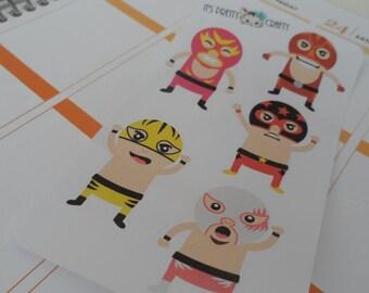 5 Kawaii Mexican Wrestler Stickers - Perfect for Erin Condren, Plum Paper, Filofax, Kikki K