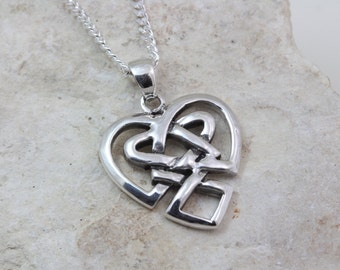 Sterling Silver Celtic Heart choose chain, Celtic knots heart Necklace, Celtic heart knots pendant, Celtic heart necklace, Irish Jewelry