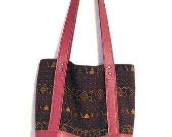 Tote bag-- Indonesian ikat fabric and red leather