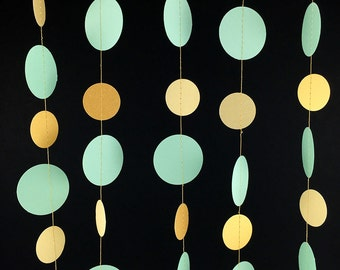 Mint and Gold Garland - Gold and Mint Garland, Mint Green and Gold Party Decorations, Gold and Mint Green Wedding Decor - GC002-2-4-104