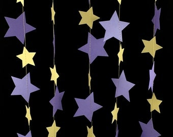 Blond Gold and Purple Star Garland - Purple and Gold Garland, Purple Paper Garland, Wedding Gold Star Garland, Girly Garland - GS021-4-43