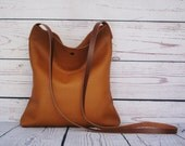 Tan crossbody bag, real leather, slouchy cross body messenger bag, shoulder bag, leather purse