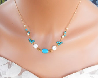 Natural Necklace  - Blue Turquoise Necklace - Freshwater Pearl Necklace
