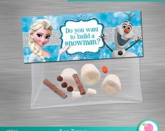 INSTANT DOWNLOAD Frozen bag topper build a snowman, Deconstructed Olaf Bag Topper,  Frozen Printable Bag Topper, Frozen DIY Party Kit