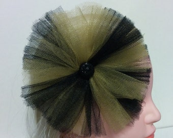 Handmade Black and Gold Tulle Hair Accessory, Tulle Hair Clip Girls, Tulle Handmade Hair Clip with black button sparkle