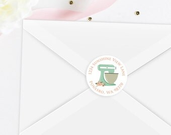Kitchen Bridal Shower Return Address Label Sticker Set
