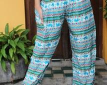 Women Hippie Boho Harem Pants Small Elephant