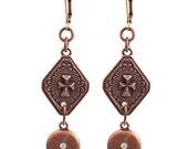 Copper Cross Earrings, Gold Earwire, Copper Drop Earring, Everyday jewelry, Cross Earrings, Copper and gold earrings, earrings for church