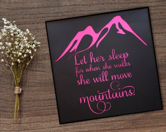 Mountain Wall Art - Nursery Decor - Girl's Room Decor - Baby Shower Gift - Unique Baby Gift - New Mother Gift - Let Her Sleep - Mountain Art