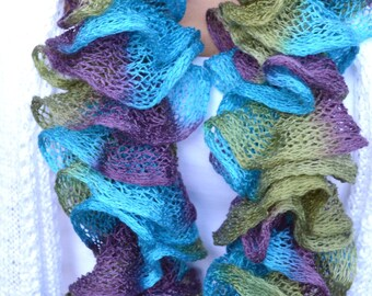 Scarf // Ruffled Scarf // Knitted scarf // Purple Blue & Green Scarf