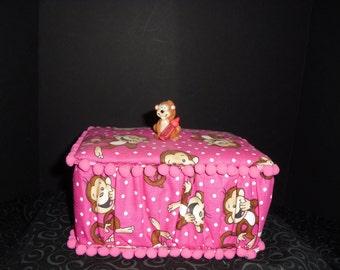 Pink Monkey Fabric Crayon Box