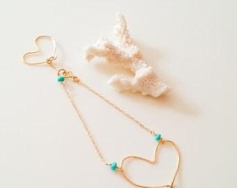 14k gold fill mermaid tail bracelet,hammered heart bracelet