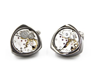 Watch Movement Steampunk Cufflinks Triangle Gunmetal (SP149)