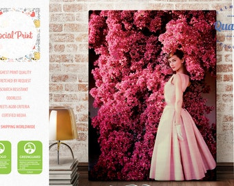 Audrey Hepburn in Givenchy Dress Canvas Print / FREE SHIPPING / Style Icon, Rose, Hepburn Artwork Giclee Print Wall Art Audrey Wall Hanging