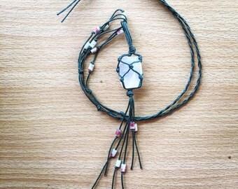 Mexican Calcite Macrame necklace