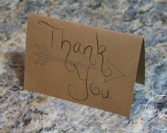 Arrow Thank You Cards, Thank You, Kraft Thank You Card Set, Wedding Thank You Cards - Set of 15
