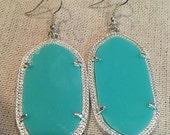 Kendra Scott Inspired Teal & Silver Earrings