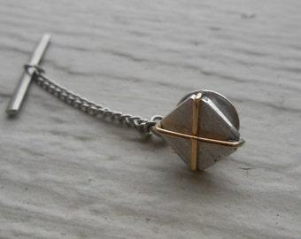 Vintage Gold & Silver X Lapel Pin. 1960's.