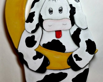 Cow over the moon/Hanging out/Yellow Moon/Whimsical painted cow/hand painted