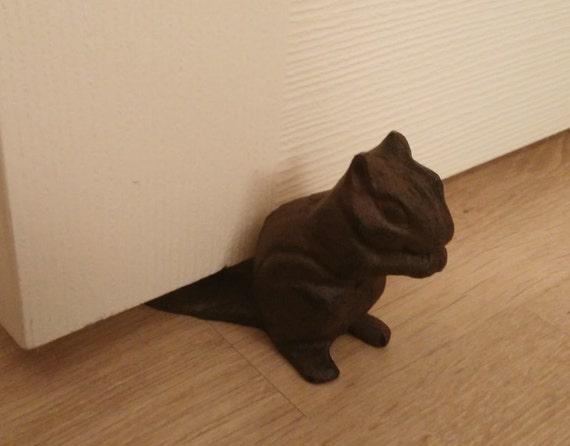 Squirrel door stop hand painted squirrel door by oliverhomedecor - Cast iron squirrel door stop ...