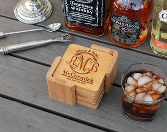 Personalized Coasters, Custom Coasters, Engraved Coasters, Custom Wedding Gift, Bamboo Square 6 Coaster Set with Holder --cst-sbam-mccormick