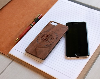 Personalized Iphone 6 case, Custom Iphone 6 case, Wood Iphone 6 case, Laser Engraved Iphone 6 case, Walnut Iphone 6 --IP6-WAL-CMB Monogram