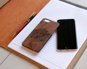 Personalized Iphone 6 case, Custom Iphone 6 case, Wood Iphone 6 case, Laser Engraved Iphone 6 case,  --IP6-WAL-Paisley Flower ip6w
