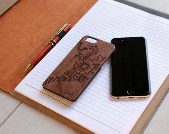 Personalized Iphone 6 case, Custom Iphone 6 case, Wood Iphone 6 case, Laser Engraved Iphone 6 case, Walnut --IP6-WAL-LMF flowers ip6w