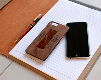 Personalized Iphone 6 case, Custom Iphone 6 case, Wood Iphone 6 case, Laser Engraved Iphone 6 case, Walnut Iphone 6 --IP6-WAL-Y Scroll