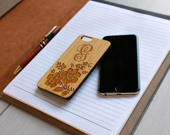 Personalized Iphone 6 case, Custom Iphone 6 case, Wood Iphone 6 case, Laser Engraved Iphone 6 case, Bamboo --IP6-BAM-G flowers ip6w