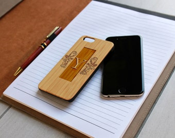 Personalized Iphone 6 case, Custom Iphone 6 case, Wood Iphone 6 case, Laser Engraved Iphone 6 case, Bamboo Iphone 6 --IP6-BAM-Y Scroll