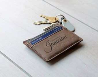 Leather Money Clip, Personalized Money Clip, Leather Wallet, Engraved Money Clip, Groomsmen Gift, Bachelor Party Gifts --LMC-DB-JAMESON