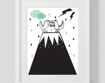 Childrens print / childrens Room Decor / Nursery Art Print / Childrens Interior Design /Dinosaur theme room/ Dinosaur monochrome art / kids