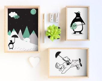 Childrens prints - Mouse / Penguin, polar bear, banjo / childrens decor Print / Kids Room Decor / Nursery Art Print / Kids Interior Design