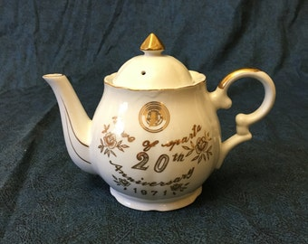 Vintage New Orleans Mardi Gras Memorabilia, Krewe of Sparta 20th Anniversary Porcelain Teapot With Music Box 1971