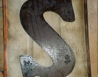 Large Reclaimed Wood Framed Initial Sign