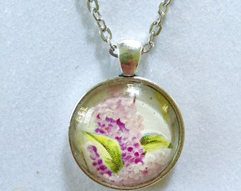 Lilac flower pendant necklace - Vintage postcard