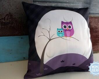 Owl Decorative Pillow Cover, Cute Owl Pillow, Owl Home Decor, Couch Pillow, Owl Throw