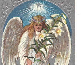 Antique Easter Postcard Angel Lamb Religious
