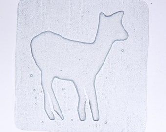"Fused glass coasters - set of 4 - ""Fallow deer"""